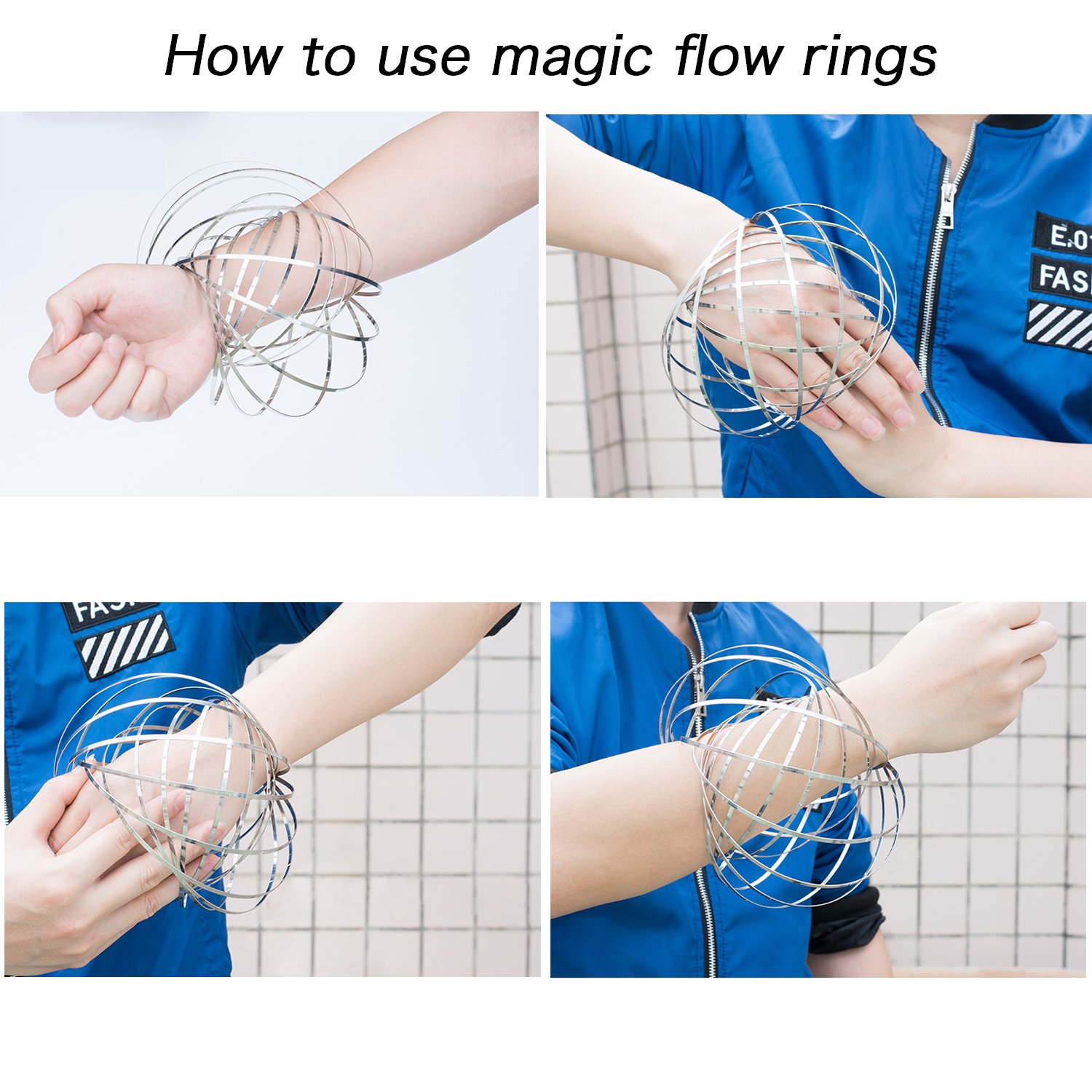 Lazarap Flow Ring Kinetic 3D Spring Toy Sculpture Ring Game Toy For Kids Boys And Girls Rave Accessories Festival Accessories Lazarap Production Department