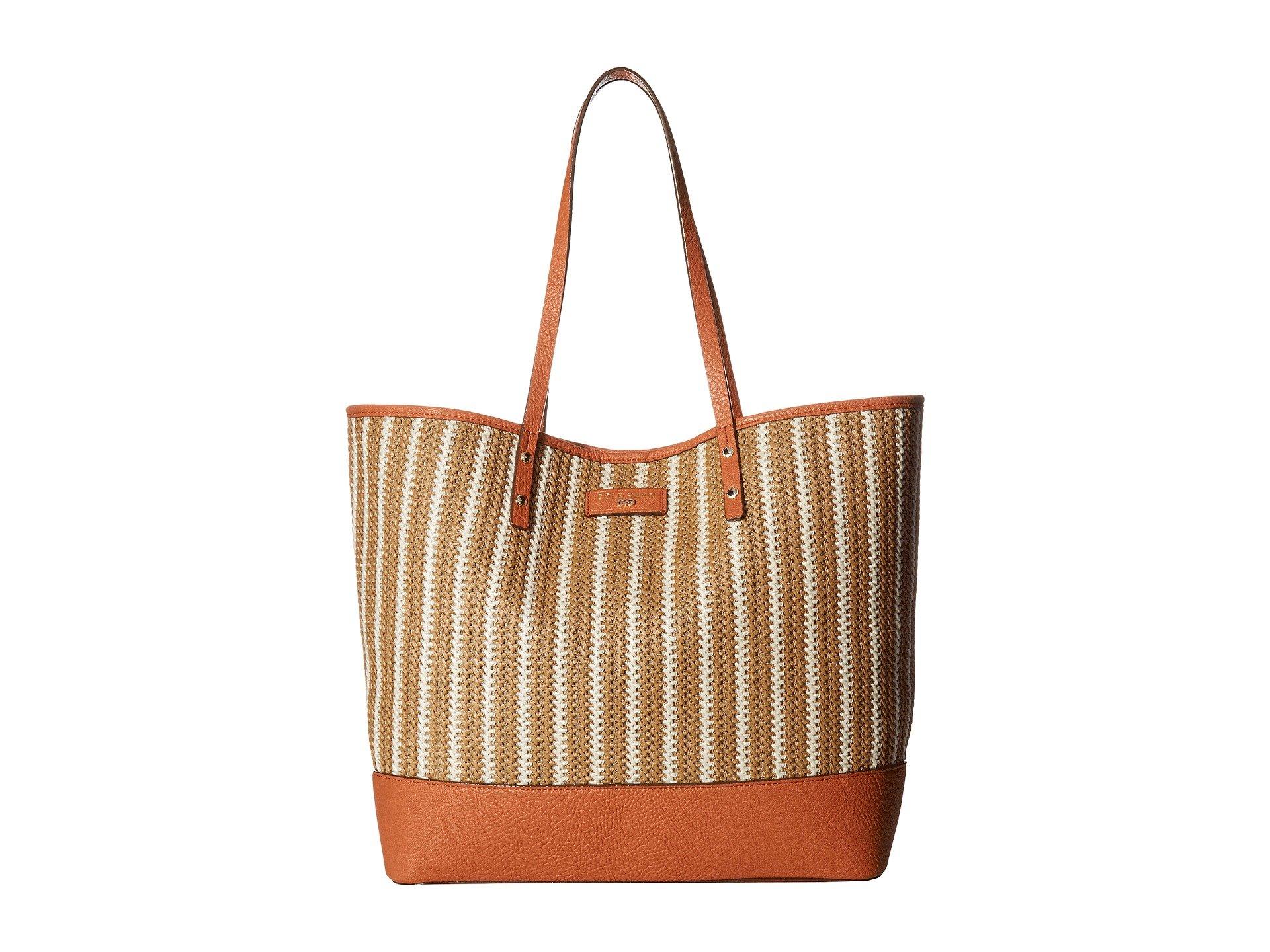Cole Haan Women's Beckett Tote Natural/Ivory Skinny Stripe Handbag