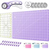 Rotary Cutter Set Lavender - Quilting Kit incl. 45mm Fabric Cutter, 5 Replacement Blades, A3 Cutting Mat, Acrylic Ruler and C