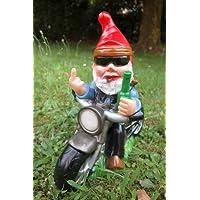 Enano de jardín Rocker en moto PVC Plástico antirroturas–Fabricado en Alemania Figura