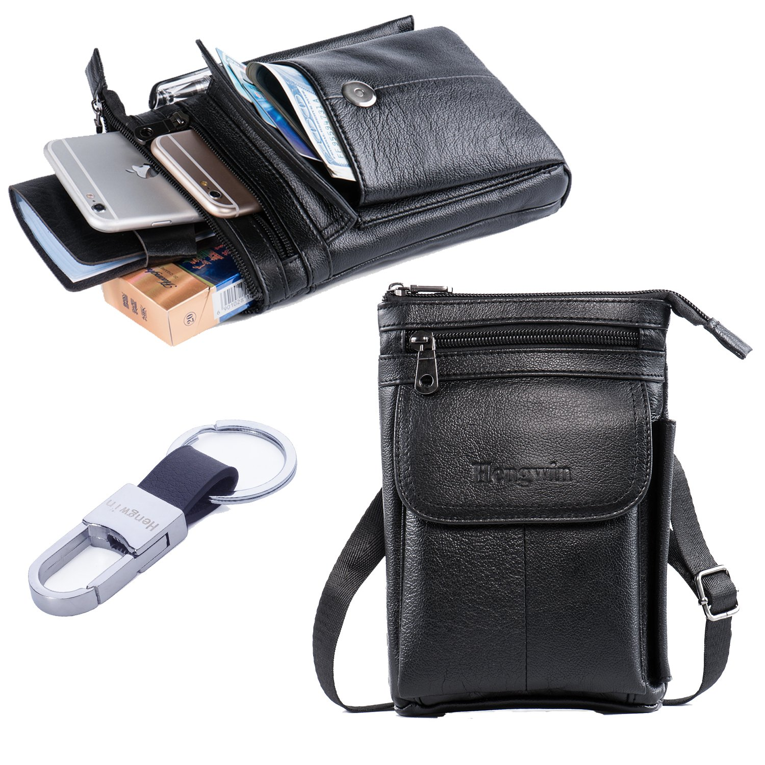 Multi-purpose Genuine Leather Travel Leisure Small Shoulder Bag Belt Waist  Pack  Cellphone Purse Crossbody Bag  Smartphone Pouch Case with Detachable  ... 59faf8f29ca25