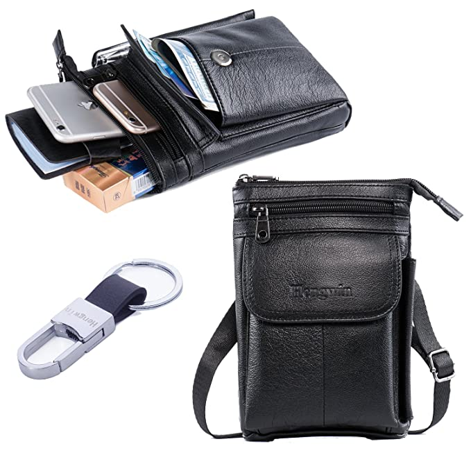 c192214d7994 Hwin Men Travel Shoulder Bag Cell phone Crossbody Purse iPhone 8 Plus  Holster Case Premium Leather