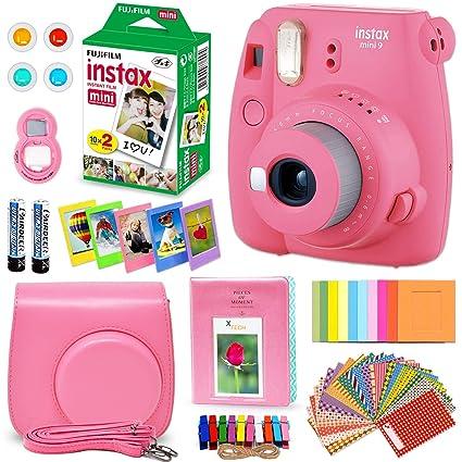 newest 58afc 9acd9 FujiFilm Instax Mini 9 Instant Camera Flamingo Pink + Fuji INSTAX Film (20  Sheets) + Custom Camera Case + Instax Album + 60 Colorful Stickers + 20 ...