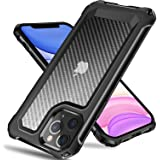 Tuerdan iPhone 11 Pro Max Case, [Military Grade Shockproof] [Hard Carbon Fiber Back] [Soft TPU Bumper Frame] Anti-Scratch, Fi