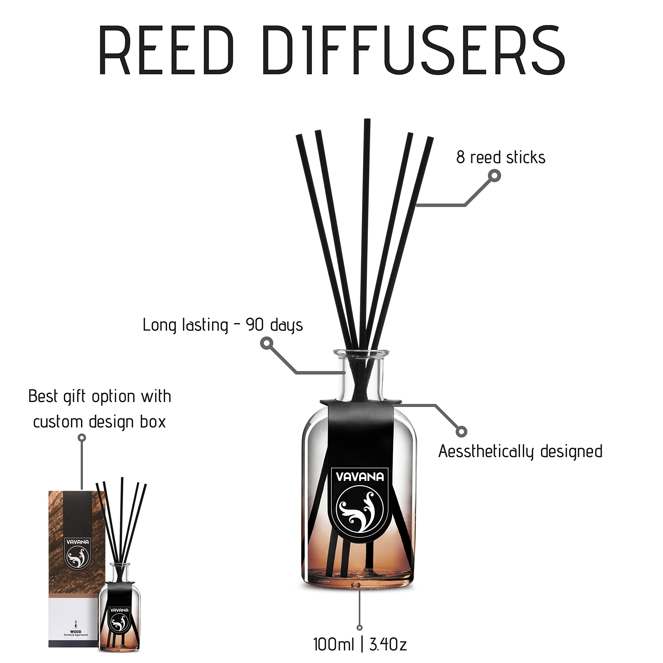 VAVANA Aromatherapy Diffuser Sticks   Reed Diffuser Set   Aromatic Home Fragrance Set   Essential Oil Diffuser Sticks, Made of Natural Scented Oils Blend   100 ML/3.4 OZ - 6 Pack (Smoked A.Wood) by vavana (Image #2)