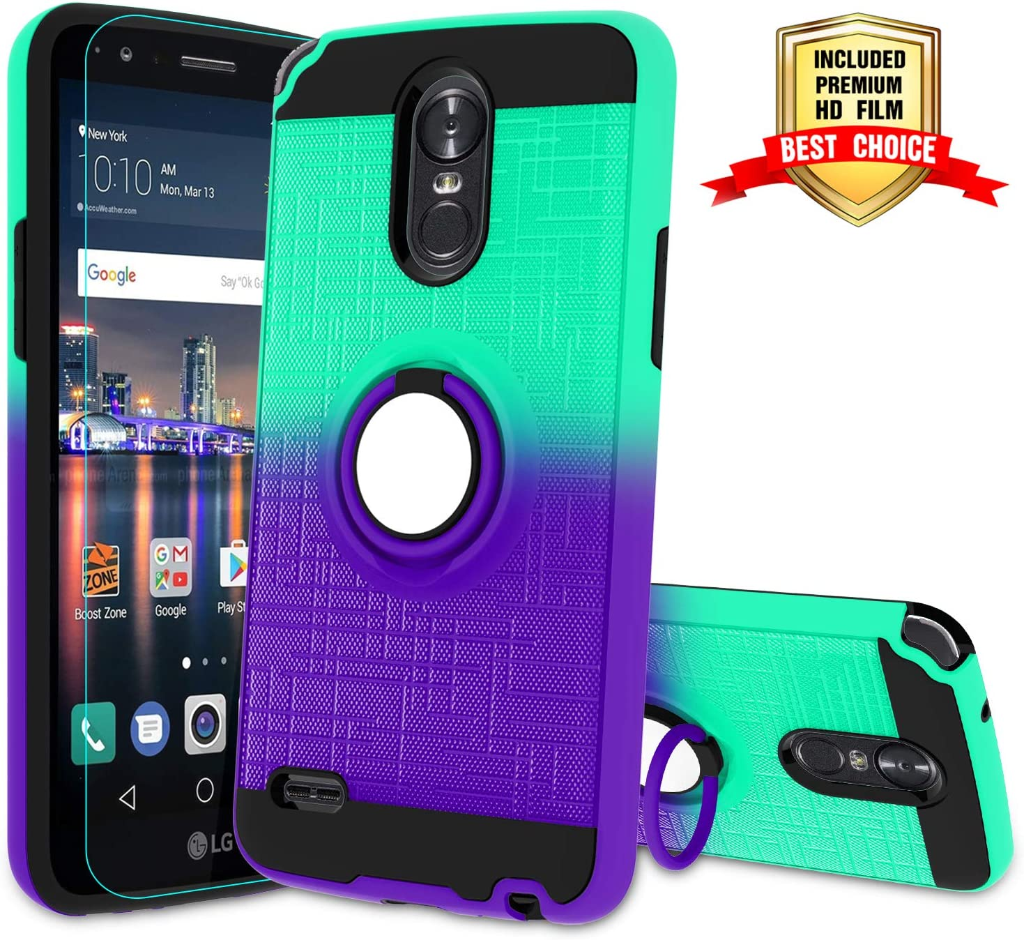 LG Stylo 3 Phone Case,LG Stylo 3 Plus, Stylus 3 Case with HD Screen Protector,Atump 360 Degree Rotating Ring Holder & Kickstand Bracket Phone Case Cover for LG LS777 Mint/Purple