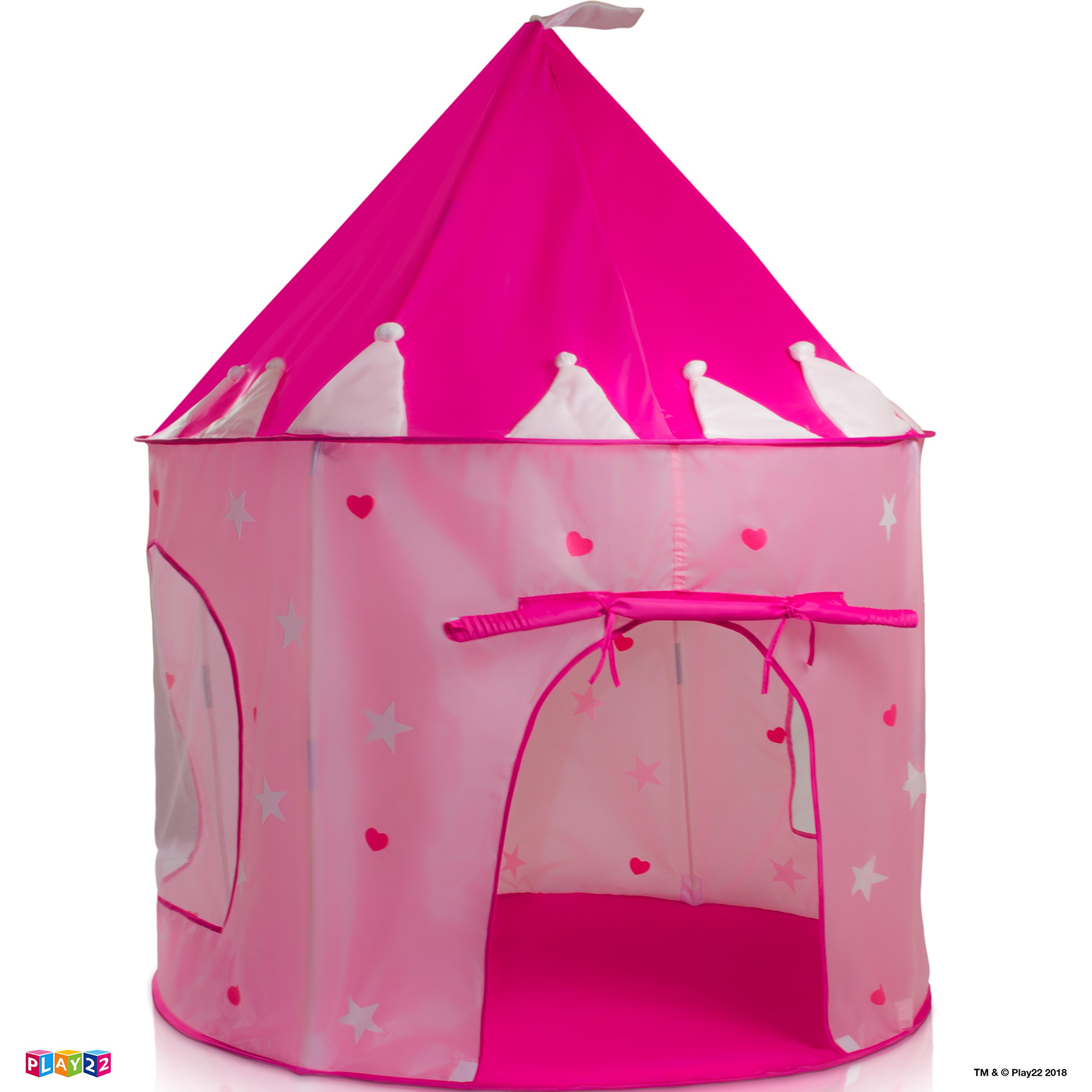 Play22 Play Tent Princess Castle Pink - Kids Tent Features Glow in The Dark Stars - Portable Kids Play Tent - Kids Pop Up Tent Foldable Into A Carrying Bag - Indoor and Outdoor Use - Original by Play22 (Image #8)