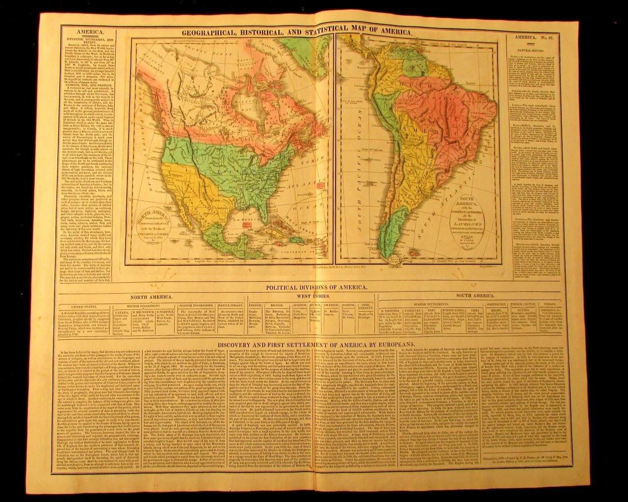 Map Of America 1820.Amazon Com North America South America 1820 M Carey Large