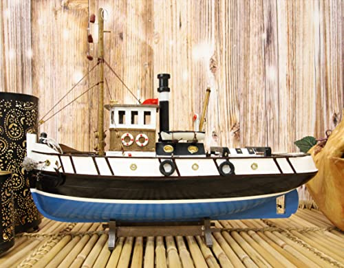 Ebros 17.25 Long Blue Wooden Handicraft Nautical Coastal Ocean Marine Navy Tugboat Boat Model Statue with Wood Base Stand Fully Assembled Figurine Industrial Sea Ship Prototype Museum Gallery Decor