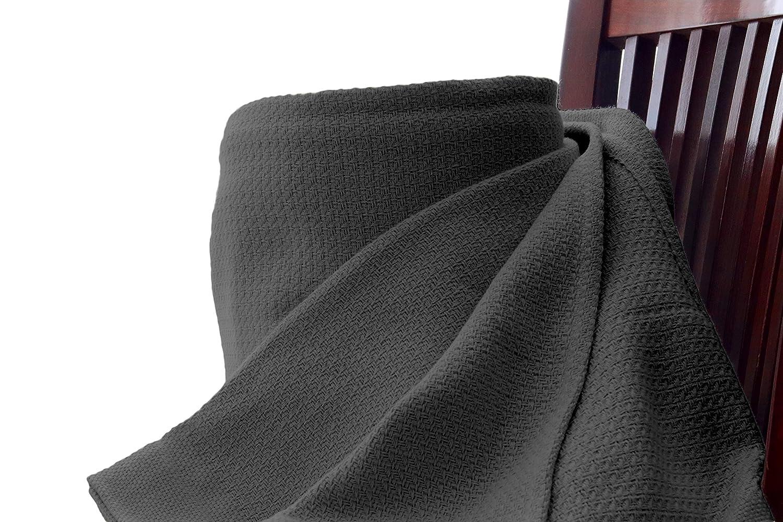 Whisper Organics Organic Cotton Blanket G.O.T.S. Certified (Dark Grey, Full/Queen)