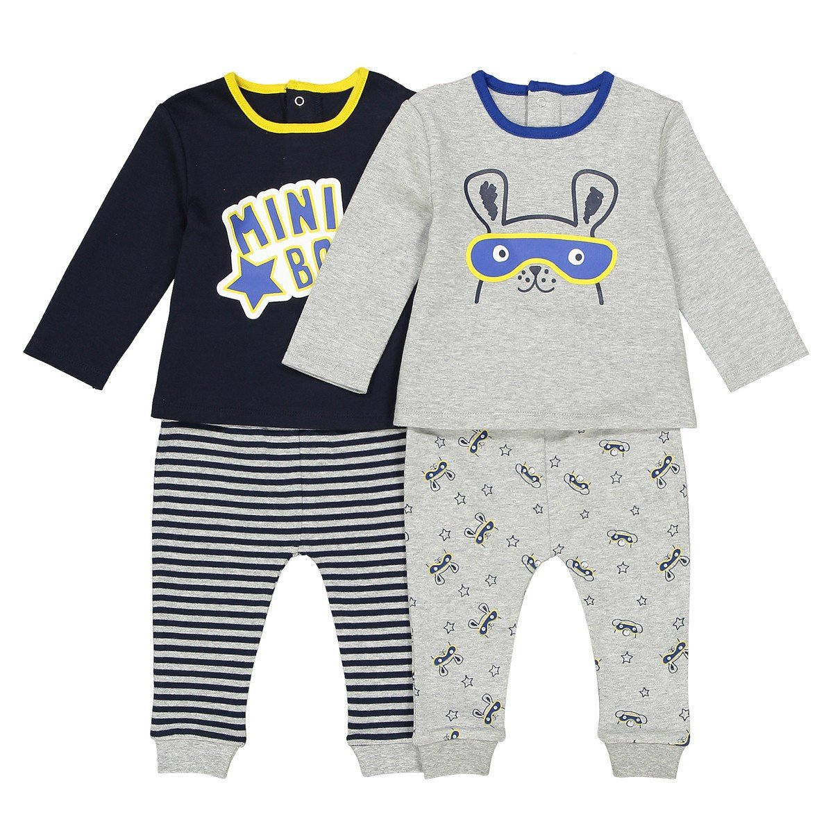 La Redoute Collections Big Boys Pack of 2 Cotton Slogan//Rabbit Print Sleepsuits Birth-3 Years