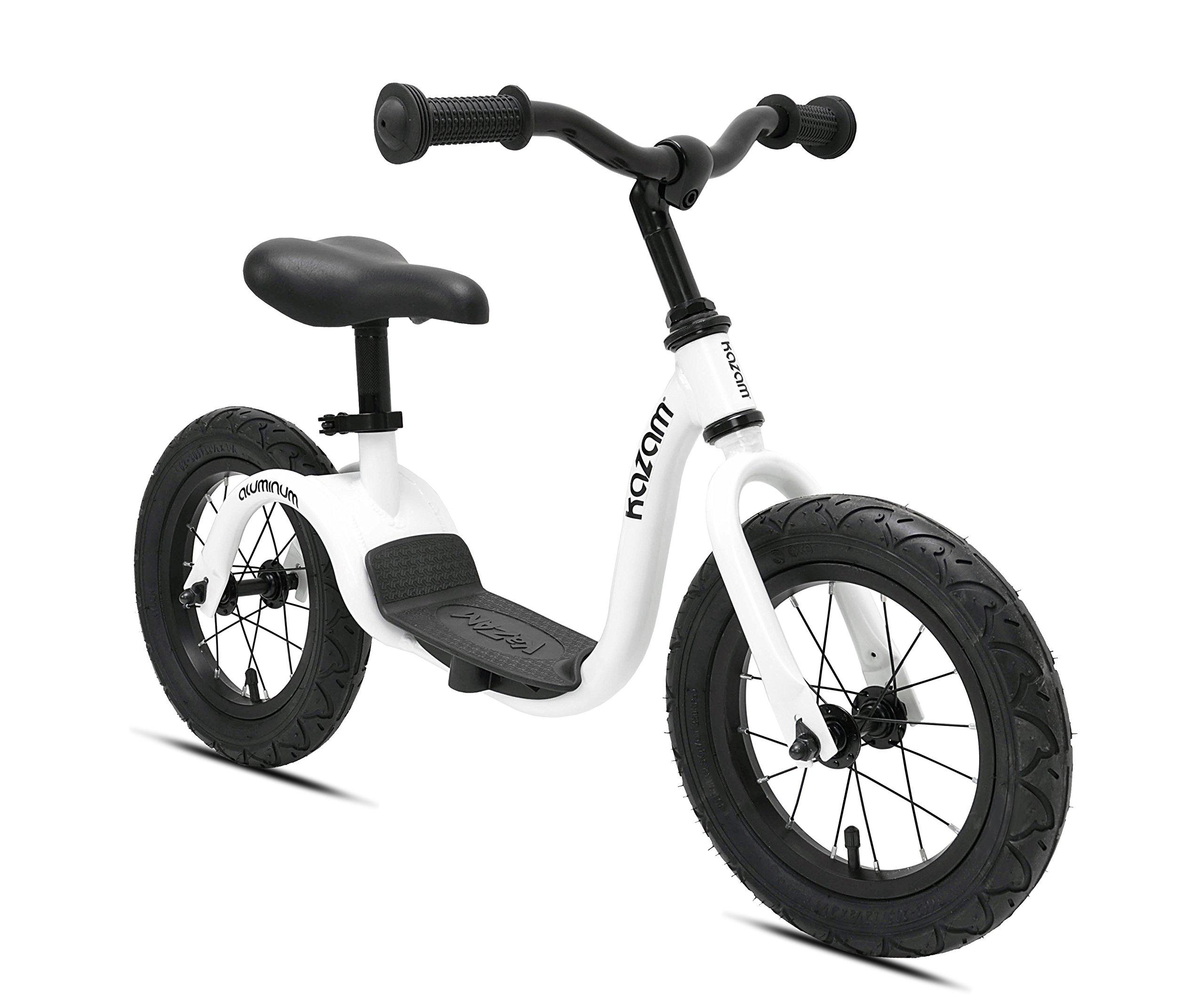 KaZAM Alloy No Pedal Balance Bike, Pearl White, 12''