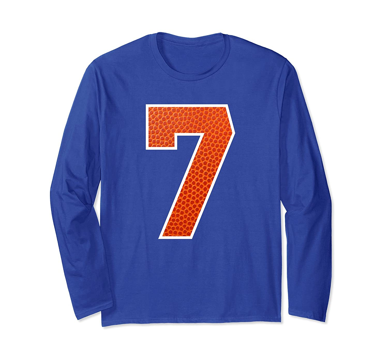 #7 Jersey Lucky Number Basketball Fan Long Sleeve T-Shirt-alottee gift