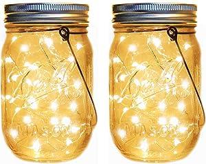 Solar Mason Jar Lantern Lights,2 Pack 30 Led String Fairy Firefly Jar Hanging Lights(Mason Jar/Hanger Included),Mason Jar Lights Kit for Patio Garden Lanterns Wedding Table Decor