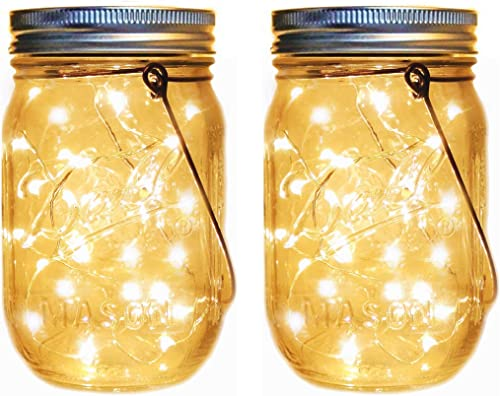Solar Mason Jar Lantern Lights,2 Pack 30 Led String Fairy Firefly Jar Hanging Lights Mason Jar Hanger Included ,Mason Jar Lights Kit for Patio Garden Lanterns Wedding Table Decor