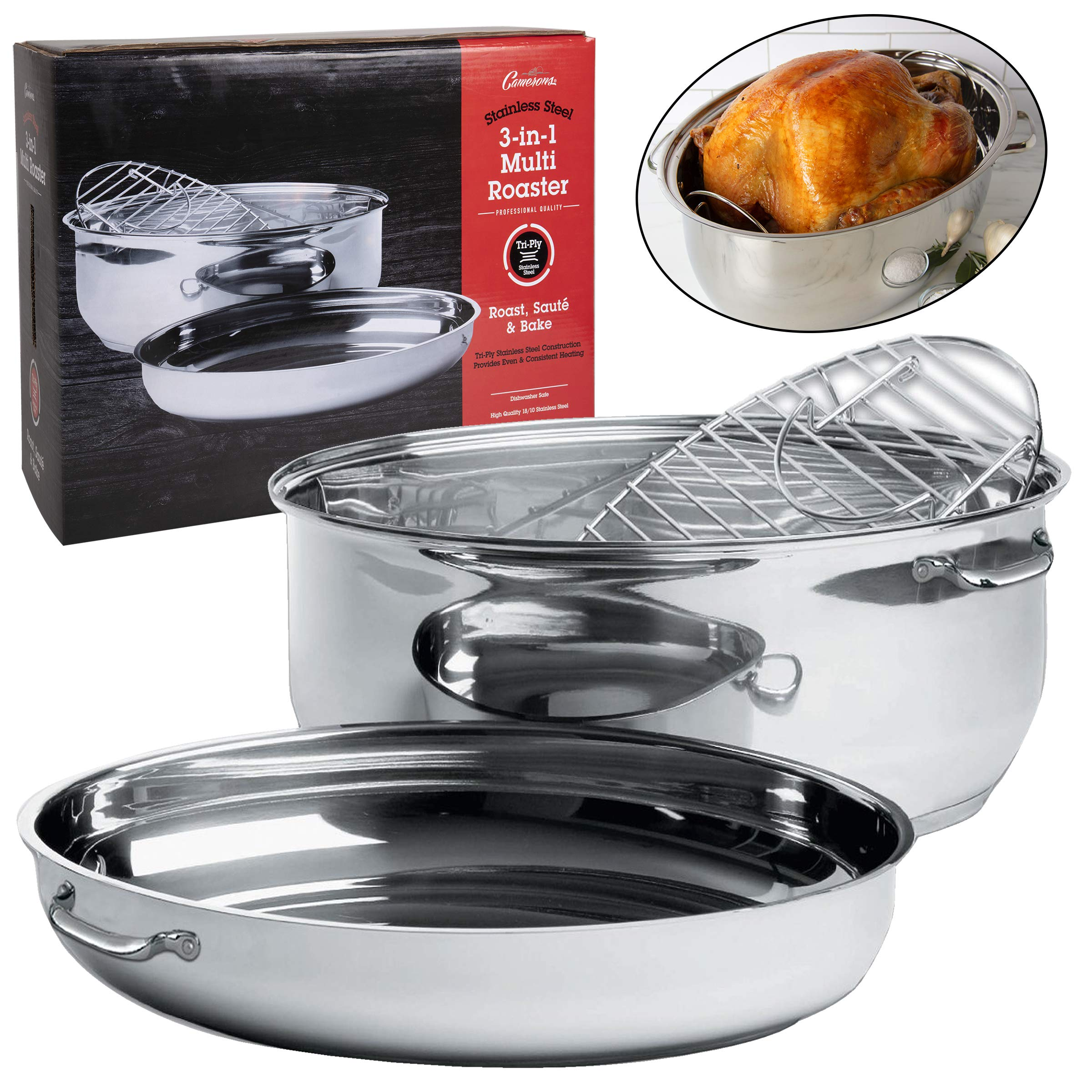 Camerons Oval Multi Roaster- 3-in-1 Stock Pot (11 QT), Roasting Pan w Rack and Saute Cookware- Stainless Steel Tri Ply, Induction Compatible w Stick Resistant Interior by Camerons Products