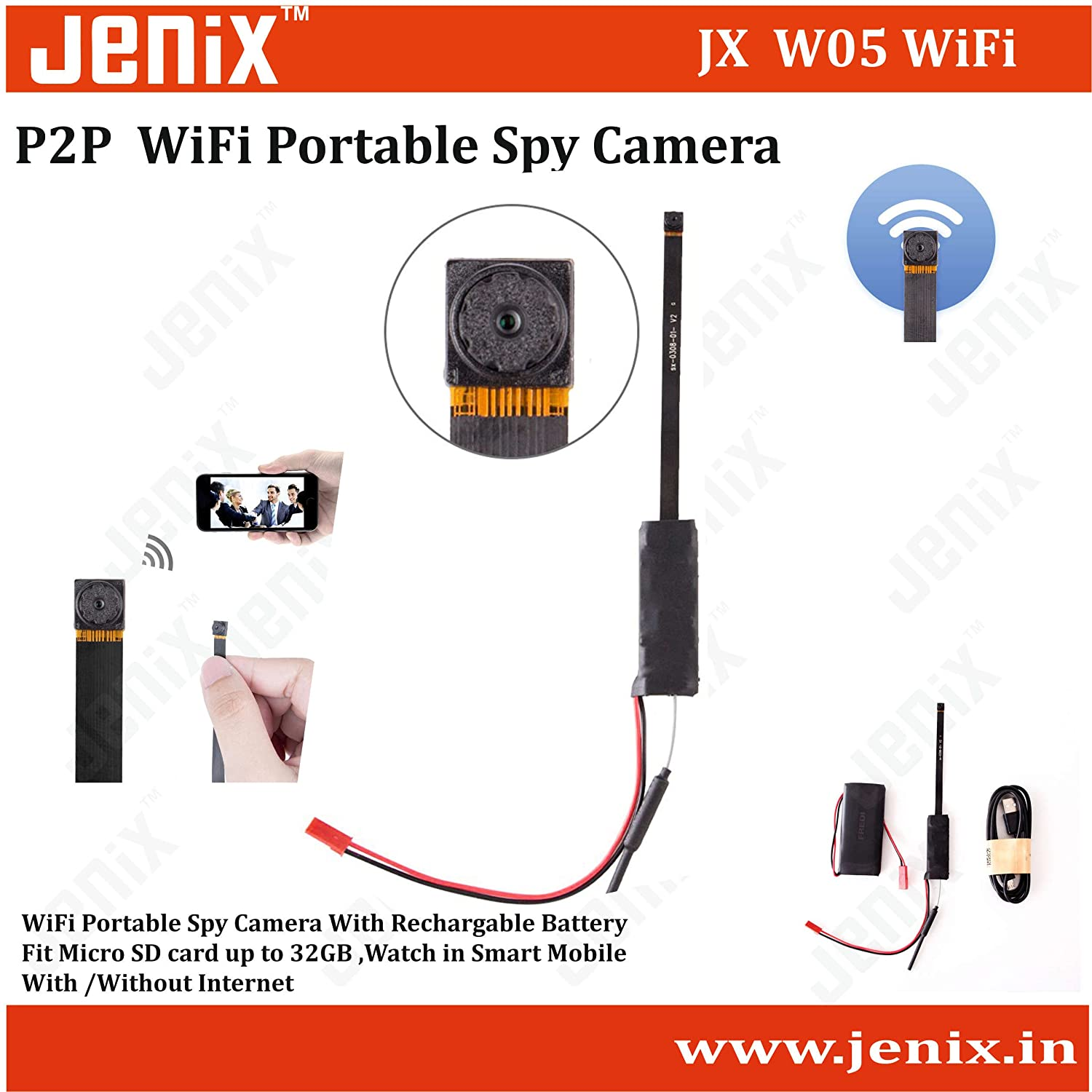 Buy jenix 1080P Hidden Camera Spy Camera full HD 60 Meter WiFi ... for Mini Spy Camera For Iphone  557ylc