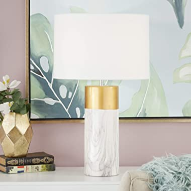 """CosmoLiving by Cosmopolitan 60739 Large Cylinder-Shaped White Marble Table Lamp with Metallic Gold Trim & White Drum Shade   15"""" x 24"""""""
