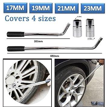 Hedii Llave telescópica extensible para llaves de coche o furgoneta (cromo de 17/19/21/23 mm): Amazon.es: Coche y moto