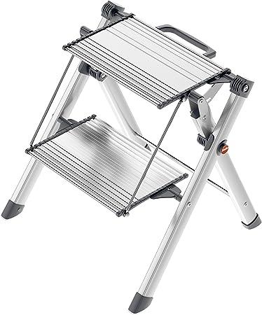 Hailo 4310-100 Mini Comfort, taburete plegable de aluminio de 2 escaleras, color plateado (redondo): Amazon.es: Bricolaje y herramientas