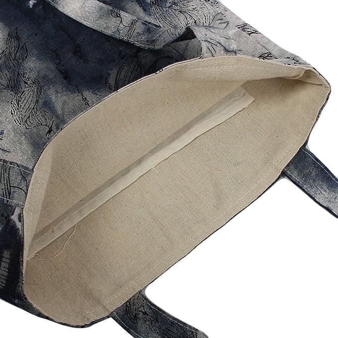 Amazon.com: eDealMax algodón de lino paisaje Impresión Exterior Playa soporte de producto a hombro de la lona bolsas de mano Azul marino: Kitchen & Dining