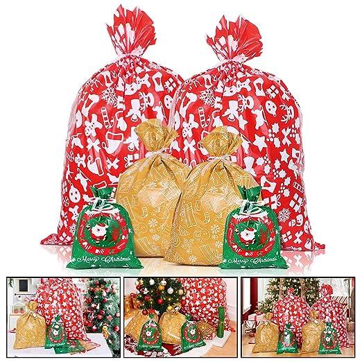 Toyvian bolsas de regalo de Navidad, bolsas de regalo reutilizables para alimentos, varios estilos con etiquetas y lazos para Navidad, fiestas, bodas ...