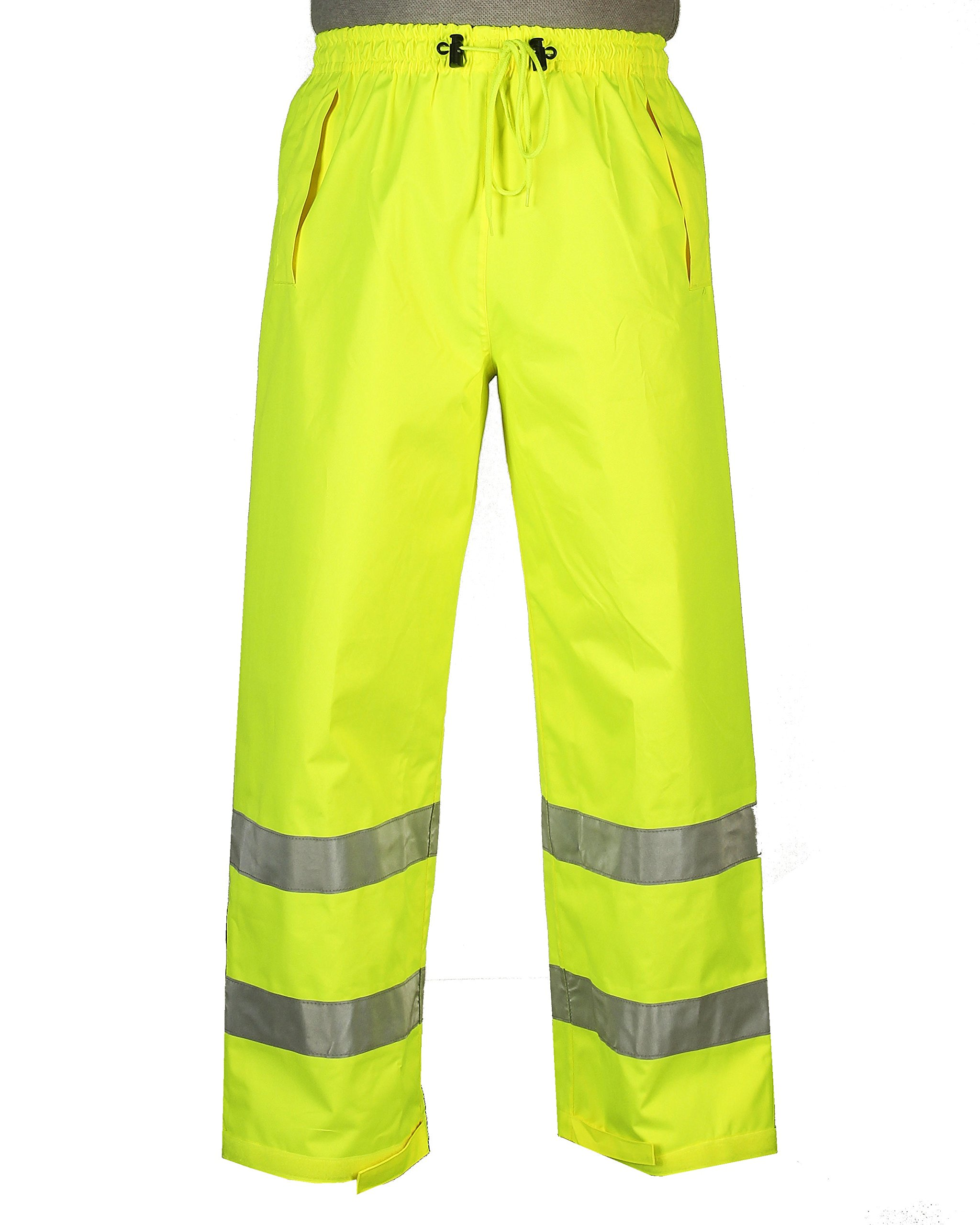 Safety Depot Lime Yellow Reflective Class E Safety Draw String Pants Water Resistant High Visibility and Light Weight 739c-3 (Large)