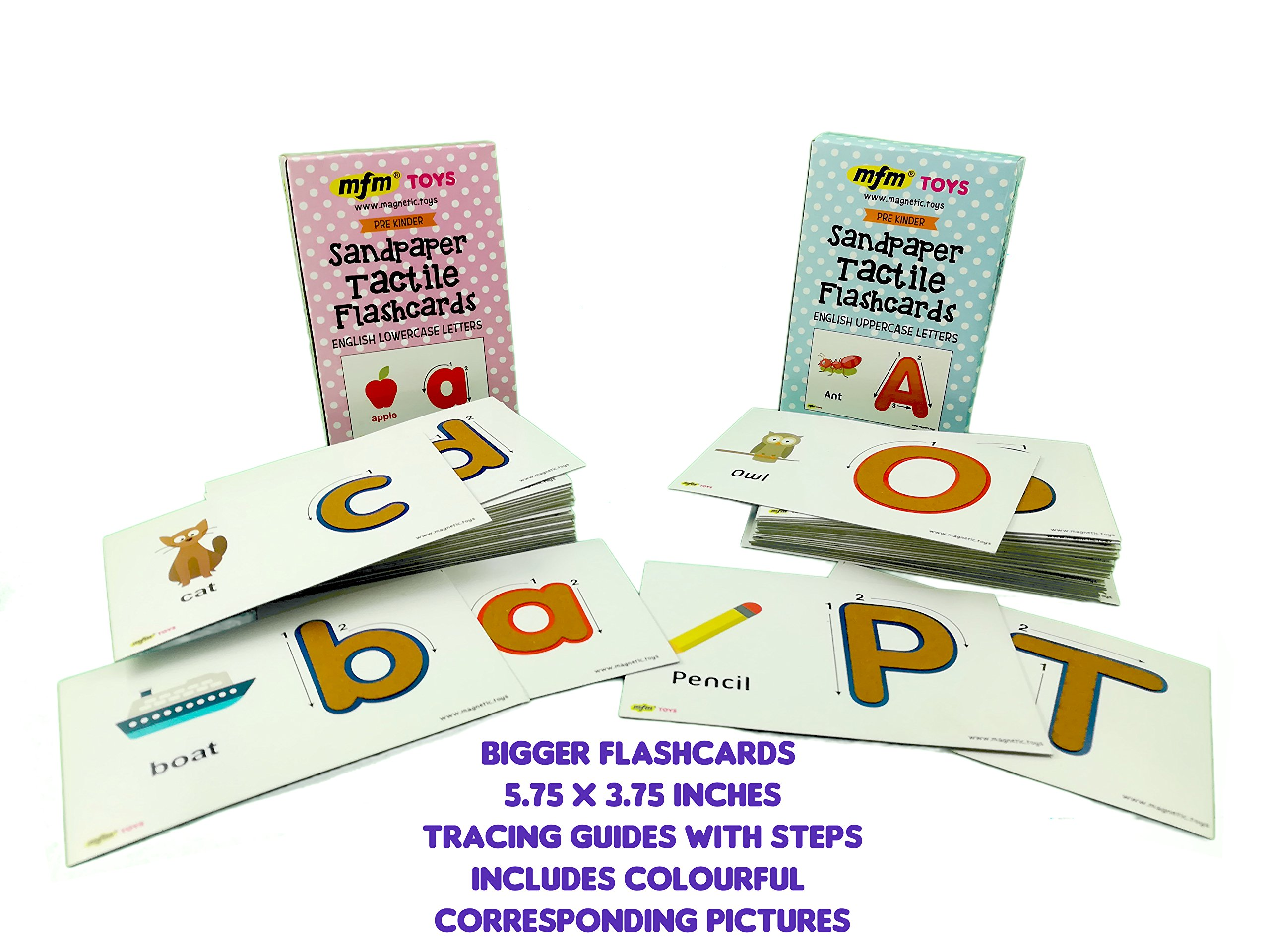 MFM TOYS Sandpaper Tactile English Letters Flashcards (Uppercase + Lowercase COMBO) by MFM TOYS