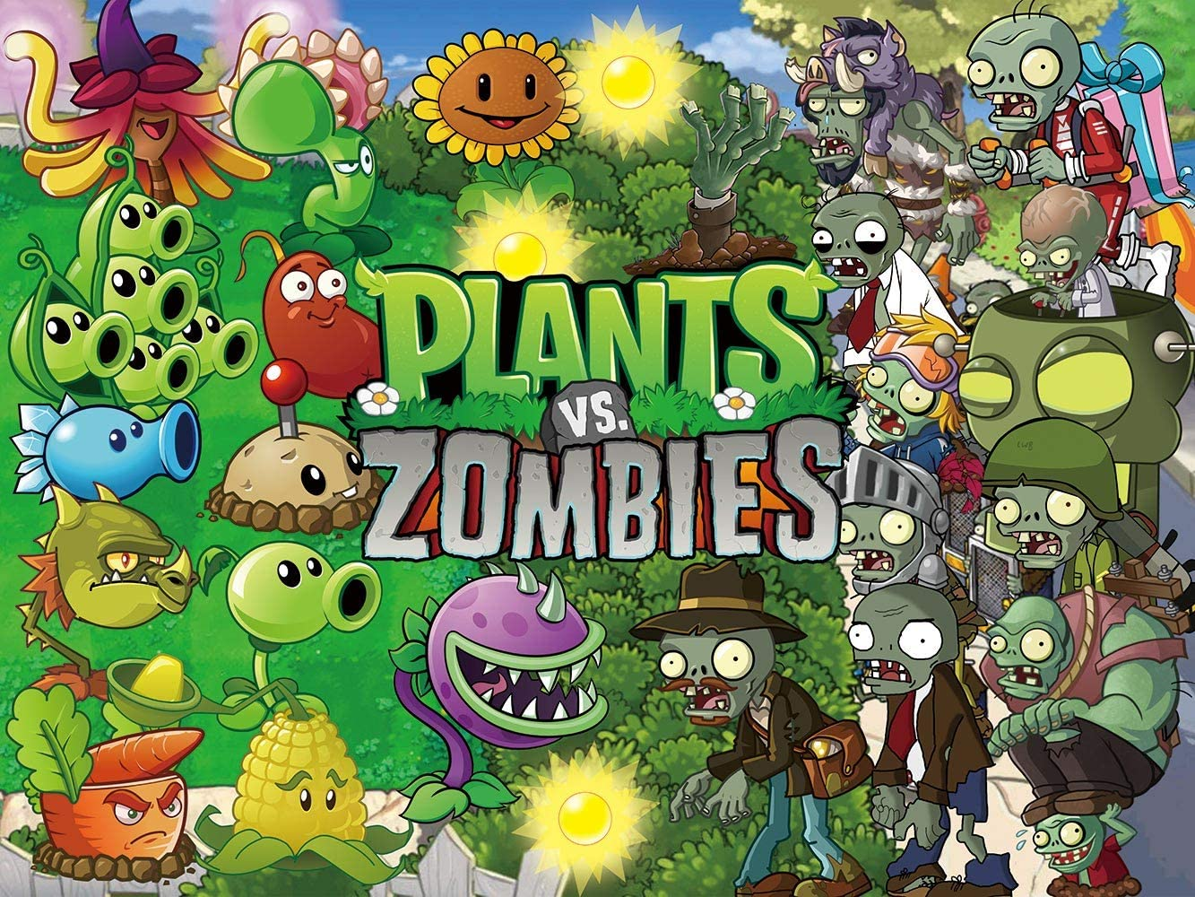 Plants and Zombie Backdrop PVZ Poster Plants vs. Zombies Supplies for 1st Boys Newborn Kids Baby Shower Party Home Decorations Background Studio Photography Photo Props Banner