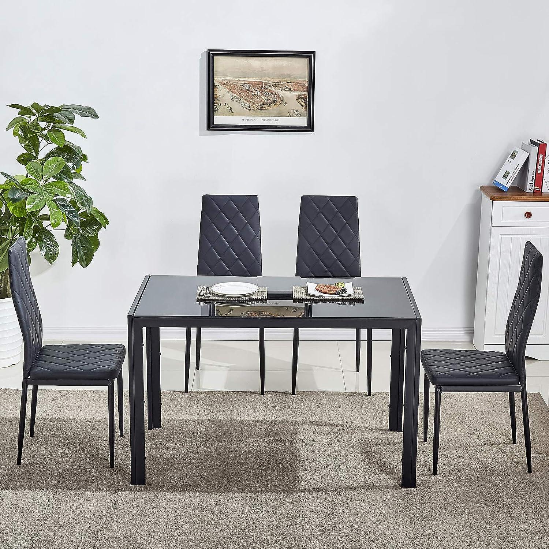 LEMAIJIAJU Dining Table Set Kitchen Furniture with 4 Dining Chairs (Black)