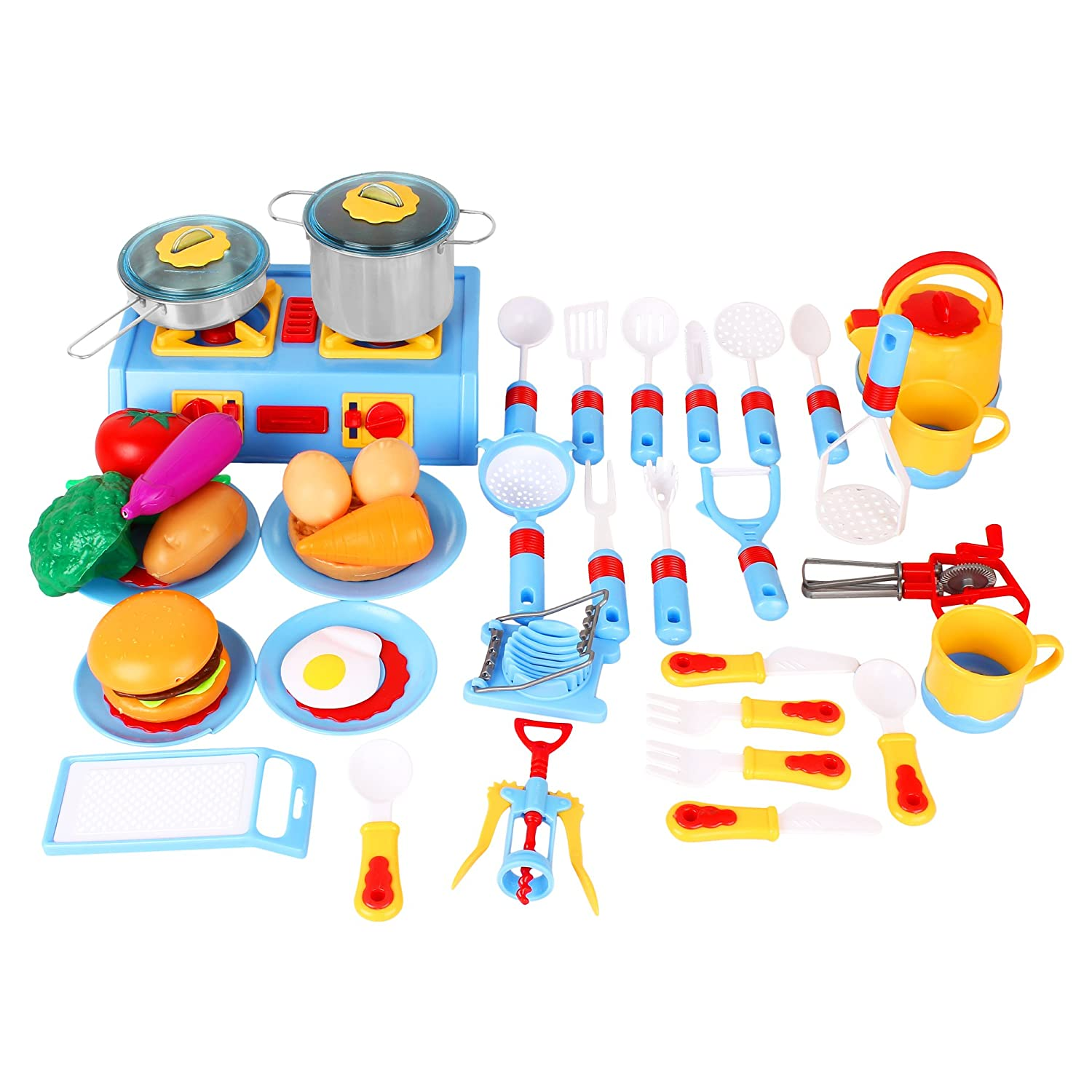 44 Pieces Mini Stove Kitchen Appliance Pretend Play Food Toy Set for Kids with Stainless Steel Metal Pots and Pans Liberty Imports