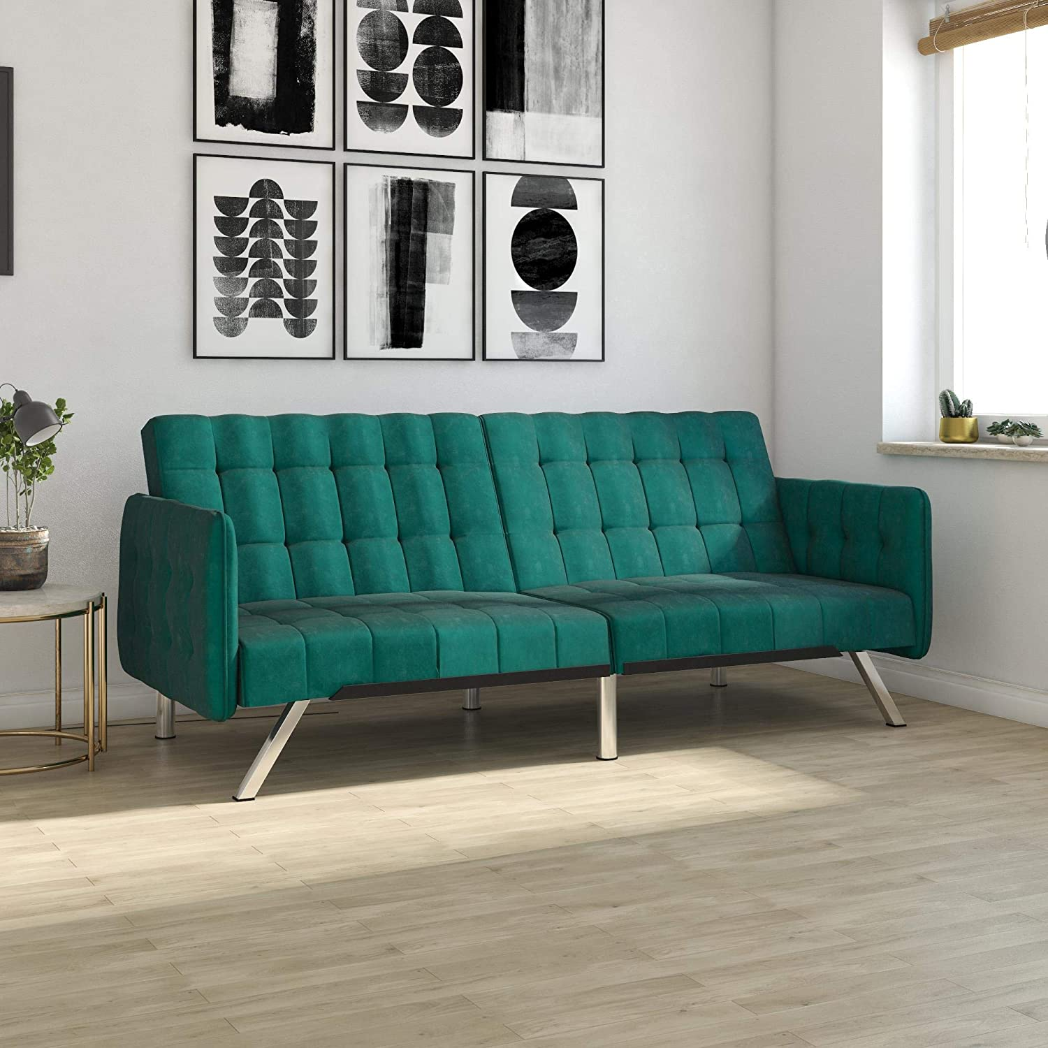 Amazon com dhp emily convertible futon and sofa sleeper modern style with tufted cushion arm rests and chrome legs quickly converts into a bed green