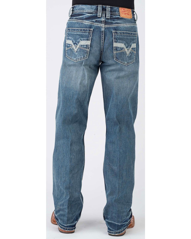 Stetson Men's 1312 Modern Fit Jeans Boot Cut Blue 33W x 34L