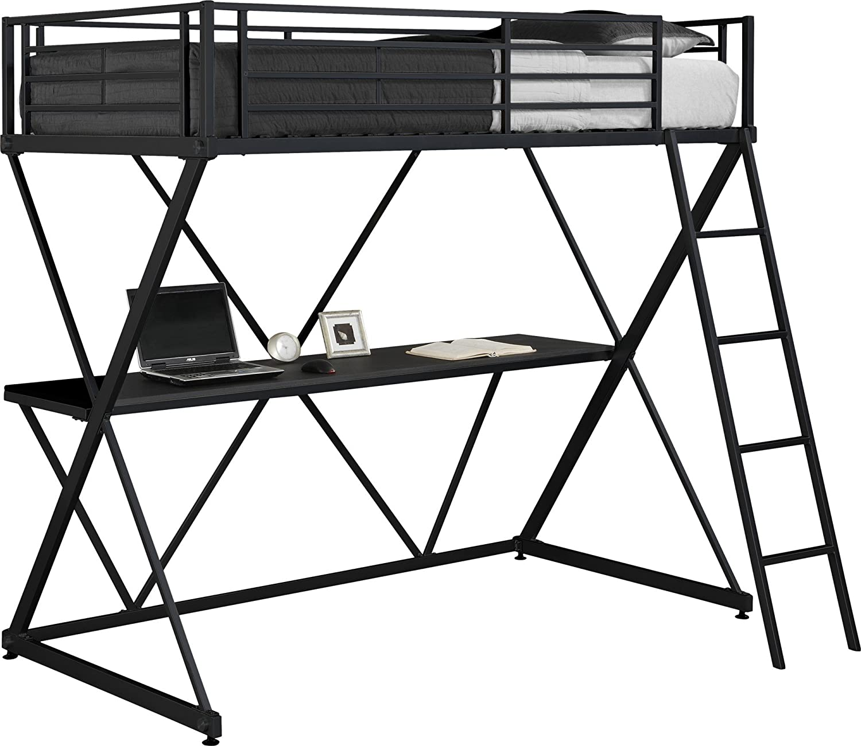DHP X-Loft Metal Bunk Bed Frame with Desk – Space Saving Design – Twin, Black