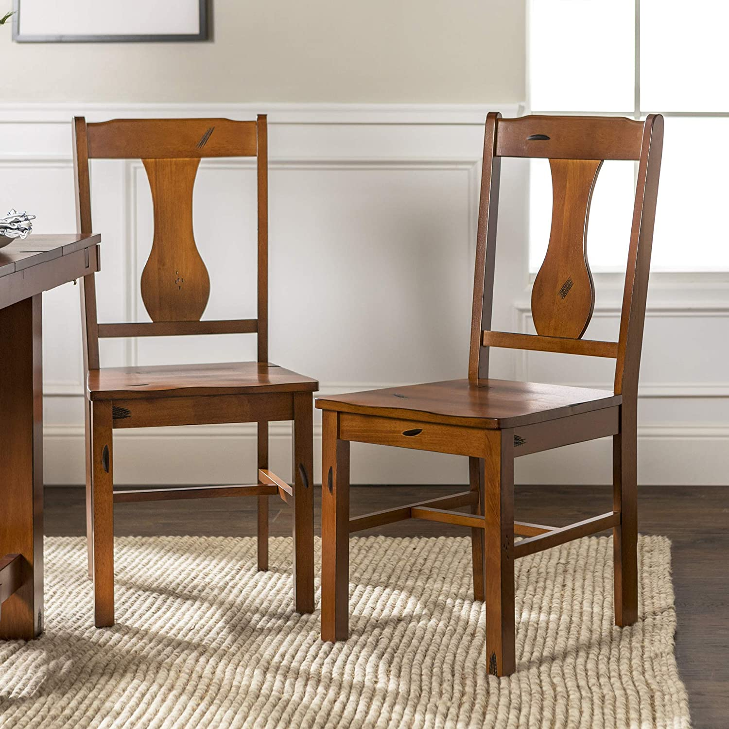 WE Furniture Rustic Farmhouse Wood Distressed Dining Room Chairs Kitchen, Dark Oak