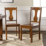 Walker Edison Rustic Farmhouse Wood Distressed Dining Room Chairs KitchenArmless Dining Chairs Kitchen Brown Oak Set of…