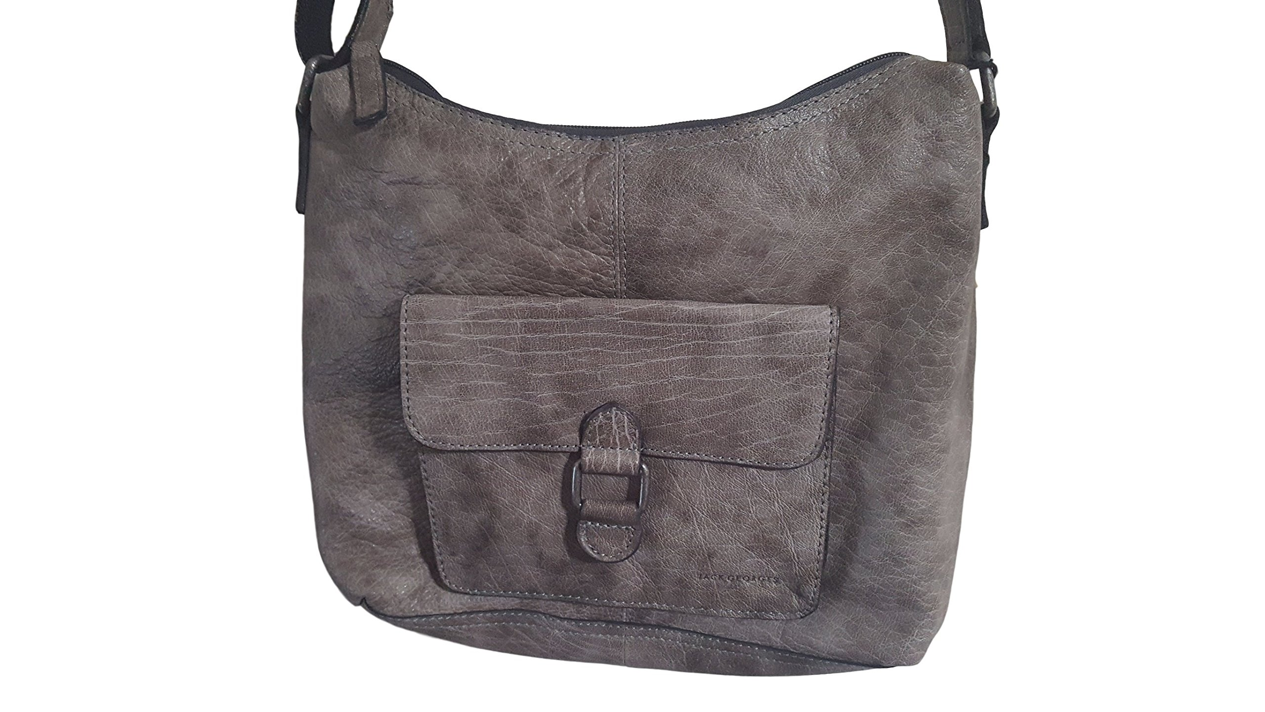 Jack Georges Voyager Collection Hobo Bag with Front Pocket 7614 Pewter