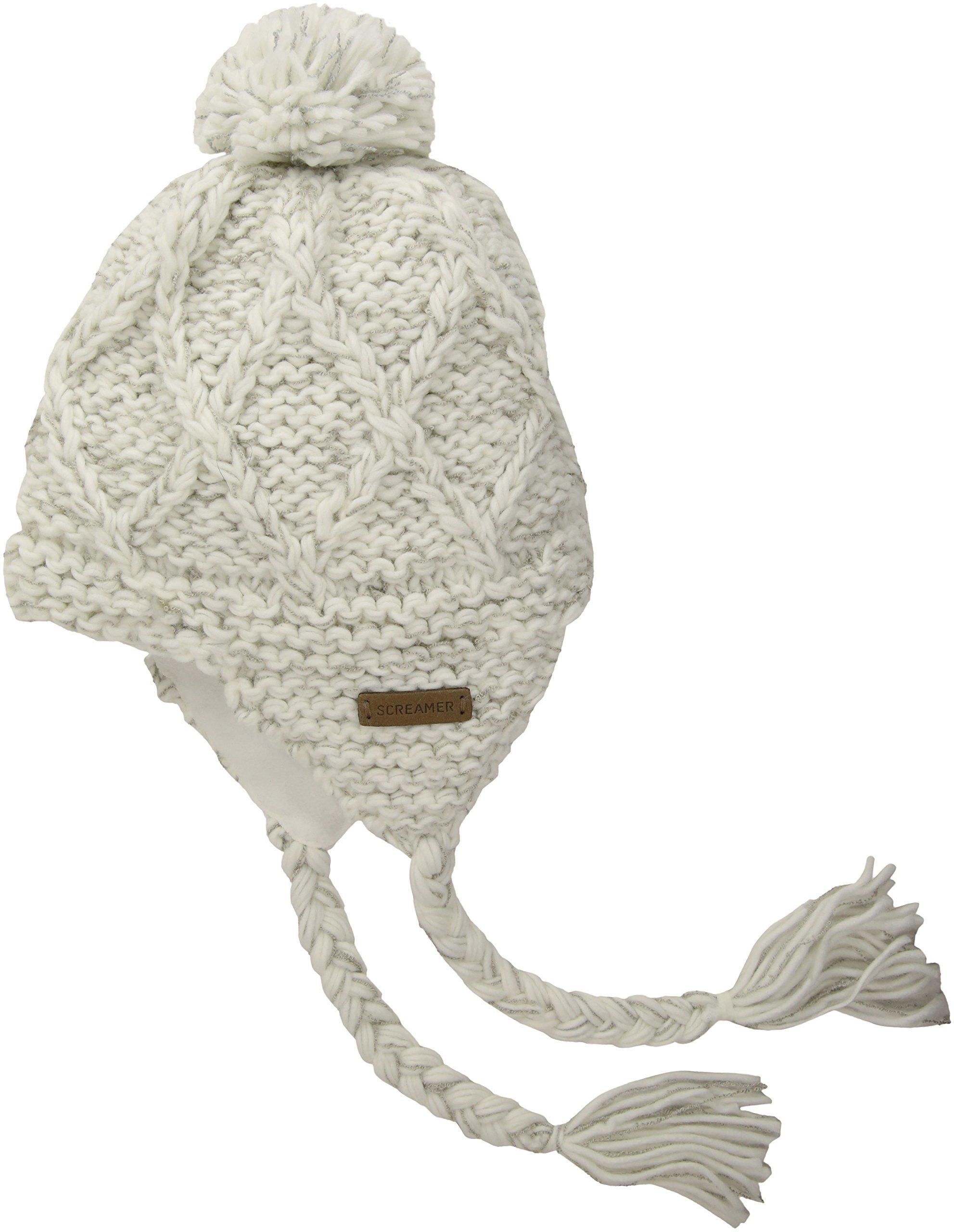 Screamer Women's Jonesy Earflap Hat, White/Light Grey, One Size