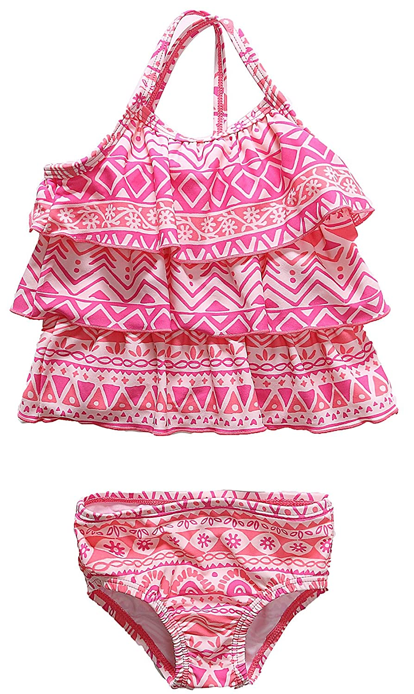 ATTRACO Baby Girls Tankini Swimsuit Toddler Ruffle Polka Dot 2 Piece Swimwear