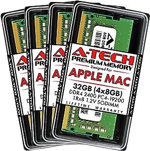 A-Tech 32GB (4x8GB) RAM for Apple 2017 iMac 27 inch Retina 5K | DDR4 2400MHz PC4-19200 SO-DIMM 260-Pin CL17 1.2V Non-ECC Unbuffered Memory Upgrade Kit