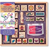 Melissa & Doug 12424 Stamp-a-Scene Stamp Pad: Fairy Garden - 20 Wooden Stamps, 5 Coloured Pencils, and 2-Colour Stamp Pad