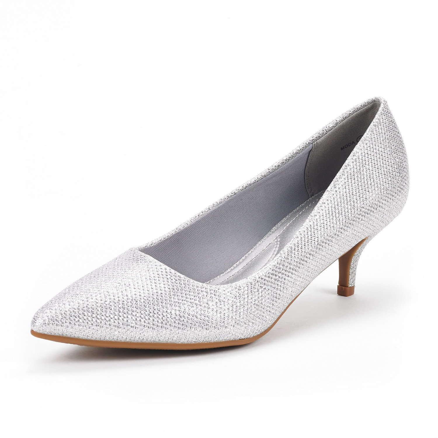 DREAM PAIRS Women's Moda Silver Glitter Low Heel D'Orsay Pointed Toe Pump Shoes Size 9 M US