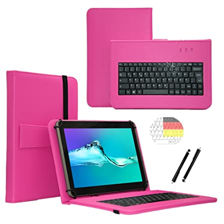 Deutsche Qwertz Tastatur für Lenovo Tab3 10 Plus TB3-X70F Tablet PC Etui Schutz Hülle mit Touch Pen - Tastatur 10.1 Zoll Pink