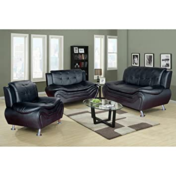 Beverly Furniture 3Piece Black Contempraray Faux Leather Living Room Sofa  Set Part 50