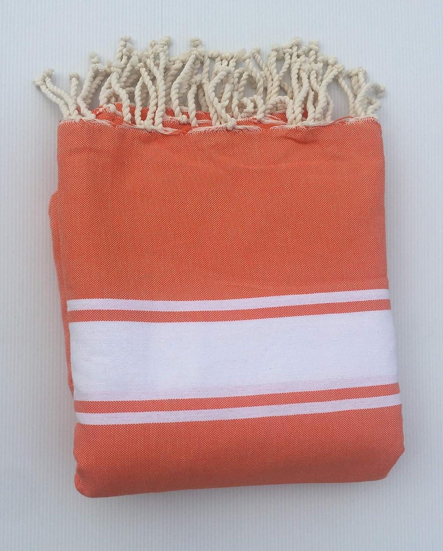 Alpes Blanc Foutas de Plage G/éant 200x200 100/% Coton//Drap de Plage uni Double Style Hammam Tunisien Taille XXL Orange