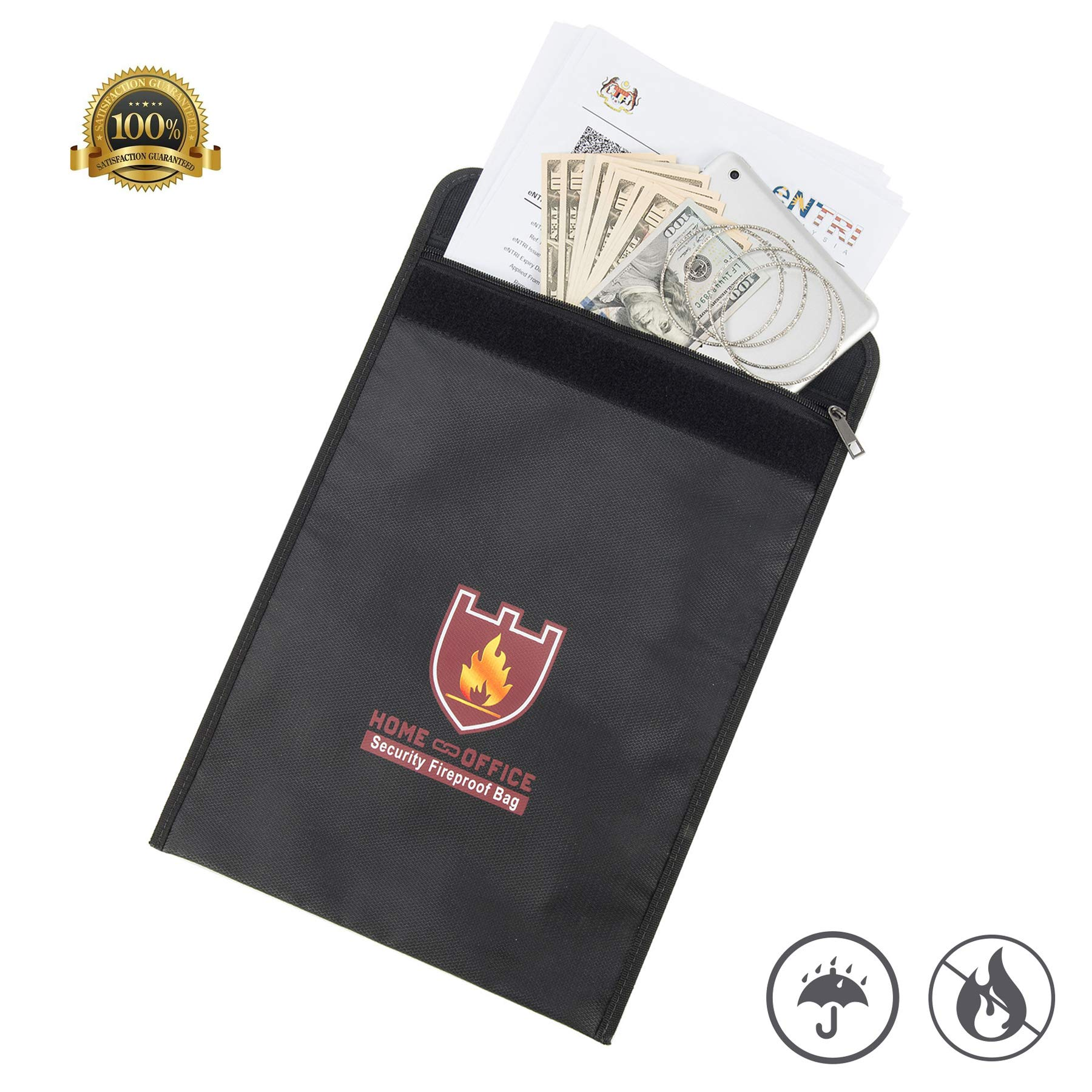 CO-Z Fireproof Document Bag Silicone Coated Fire Resistant Money Bag Fireproof Safe Storage for Money, Documents, Jewelry and Passport, Heat-Resistant 1400°F (15''x11'')