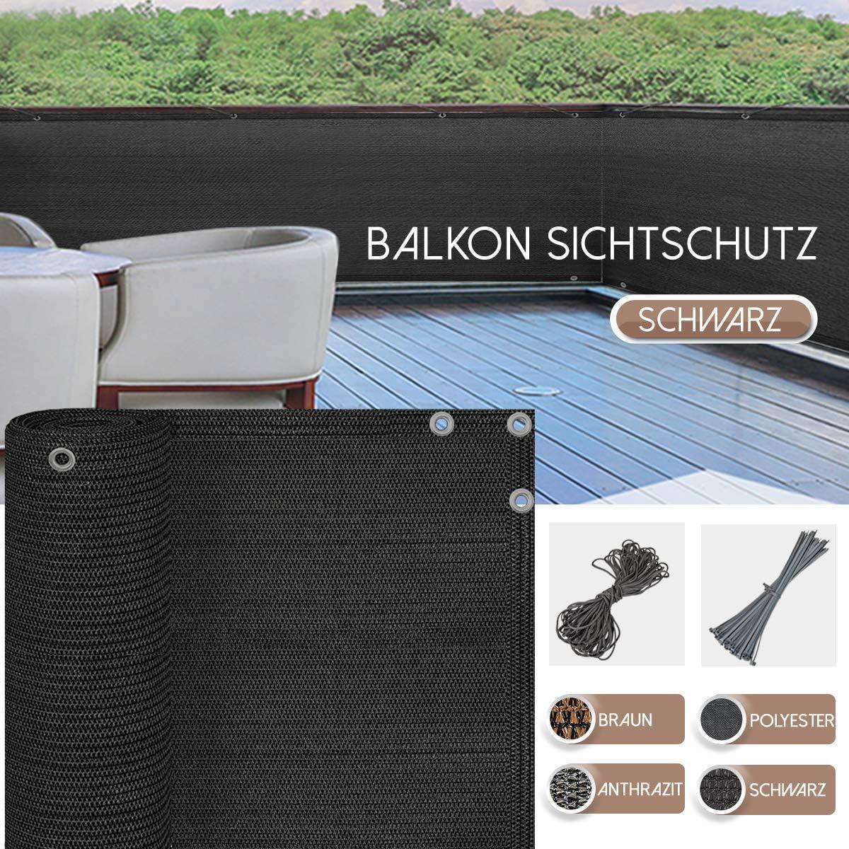 BALCONIO Balkon Sichtschutz wasserabweisend Balkonbespannung Balkonabdeckung f/ür Balkon Terrasse aus Polyester-400 x 85 cm-Grau