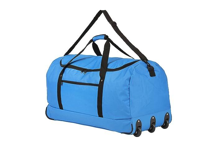 Travelz faltbare reisetasche 100 liter reise trolley mit 3 stärke rollen (blau)
