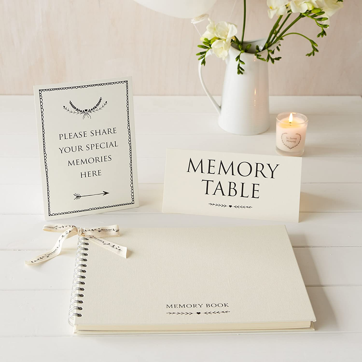 Angel & Dove Luxury A4 Memory Book & 2 Signs Set - 'Please Share Your Special Memories Here' & 'Memory Table' - Ideal for Funeral Condolence Book, Memorial, Remembrance, Celebration of Life