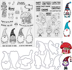 4 Pieces Christmas Santa Claus Clear Stamps and Die Set Silicone Santa Hat Clear Stamps Sentiments Merry Christmas Words Stamps with Metal Cutting Dies for DIY Christmas Scrapbooking Decor